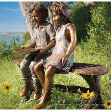fonderie de bronze fonderie bronze statue deux enfants assis sur un banc de lecture