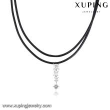 00136-Wholesale Schmuck Diamant Leder schwarz Chokerhalskette