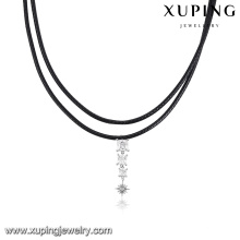 00136-wholesale jewelry diamond leather black choker necklace