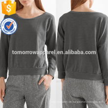 Graue Ausschnitt Baumwolle Jersey Sweatshirt OEM / ODM Herstellung Großhandel Mode Frauen Bekleidung (TA7016T)