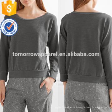 Sweat-shirt en coton gris découpe OEM / ODM Fabrication en gros de mode femmes vêtements (TA7016T)