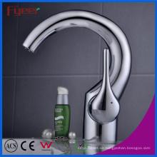 Fyeer Chrome Crooked Spout Grifo mezclador para grifo de lavabo con agua caliente y fría de una manija
