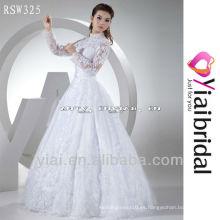 RSW325 manga larga de cuello alto vestido de novia