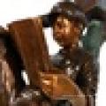 Heißer Verkauf Metall Craft Boy Lesebuch eine Baumskulptur