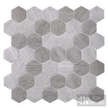Mosaico de vidro com padrão hexágono cinza madeira