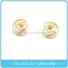 TKB-JE0013 Unique lacy flower round shaped golden 316L stainless steel stud earrings for women
