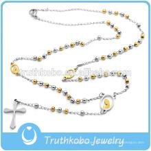3MM Edelstahl zwei Stein Rosenkranz Perlen Schmuck Kreuz Halskette für Jungs