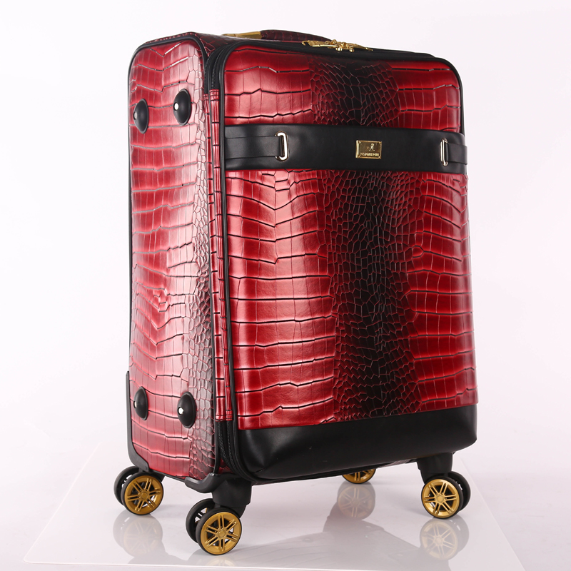 red pu luggage