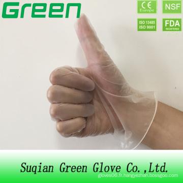 Gants de vinyle médicaux à usage unique en poudre / poudres sans élimination (ISO, certifié CE)