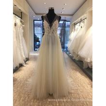 Vestido de casamento feito sob encomenda do vestido de noite do Beading da flor