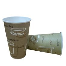 Doble taza de café desechable de papel caliente