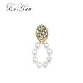Pendientes de anillo de perlas de oro de Europa y América, accesorios de boda para mujeres.