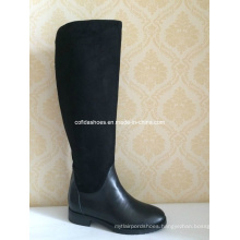 Flat Comfort Long Women Leather Boots for Fashion Lady