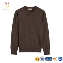 Herren Stilvolle Long Sleeves 1/4 Knopf Pullover Gestrickte Reine Farbe Pullover