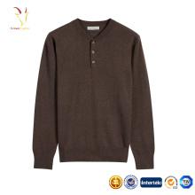 Chandail à manches longues élégant 1/4 manches Pull tricoté de couleur pure pour hommes
