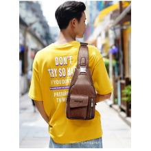 Men′s Cross Body Leather Messenger Bag Shoulder Sling Backpack Leather Chest Bag