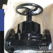 Cara plana ANSI / JIS / GB / BS Pn10 / Pn16 Tipo de vertedero Válvula de diafragma de hierro fundido Gg25 forrada de PTFE
