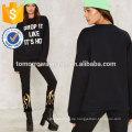 Schwarz bedruckten Rundhalsausschnitt Sweatshirt OEM / ODM Herstellung Großhandel Mode Frauen Bekleidung (TA7028H)