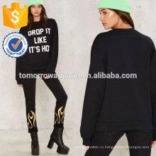 Черный печатных круглый вырез свитер OEM и ODM Производство Оптовая продажа женской одежды (TA7028H)