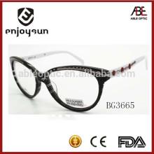 Lunette de lunette optique à lunette optique à la mode avec cadre décoré en acier inoxydable