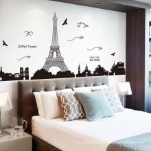 Decoración para el hogar Torre Eiffel Diseño de impresión Pegatinas de vinilo personalizadas Pegatinas de pared Moda
