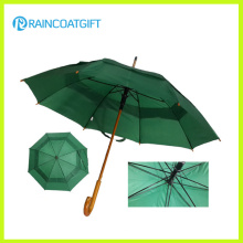 Auto-Opening Polyester Outdoor Golf Umbrella with Curved Wooden Handle