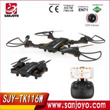 SJY-TK116W plegable Selfie Drone 2.4G 4CH 6 ejes FPV Quadcopter con 2MP WiFi Gran angular cámara RC Drone VS XS809W