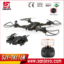 SJY-TK116W Foldable Selfie Drone 2.4G 4CH 6Axis FPV Quadcopter With 2MP Wifi Wide Angle Camera RC Drone VS XS809W