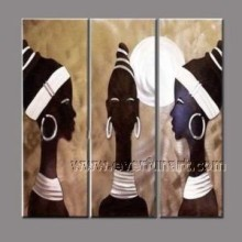 100% Hand Painted African Figure Oil Painting