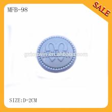 MFB98 Großhandel Silber Farbe Marke Logo graviert beweglichen Metall Jeans-Tasten