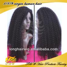 peruca dianteira do laço do cabelo humano para africano, peruca curly kinky do laço, vista natural