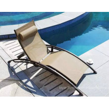 New Cheap Outdoor Hotel Pool Leisure Sun Lounge Chaise avec fibre textile en aluminium