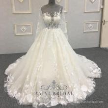 Custom Made Lace Vestido De Noiva Vestido De Noiva Cristais De Ouro Transparente Manga Longa Vestidos De Noiva Plus Size Mulheres Vestidos