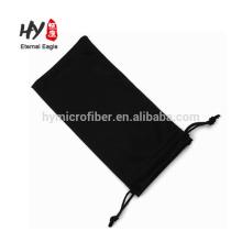 Bolsa de óculos de sol de microfibra preta macia personalizada de logotipo