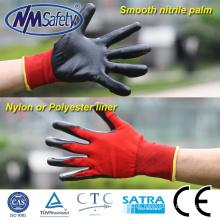 NMSAFETY 13 Gauge rote Nylon getaucht schwarze Nitril-Handschuhe