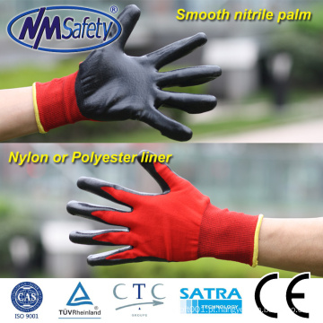 NMSAFETY 13 calibre nylon vermelho mergulhado luvas de nitrilo preto