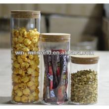 Konkurrenzfähiger Preis Mundgeblasene Borosilicatglaskornspeicherflaschen u. -gläser mit Korkdeckel