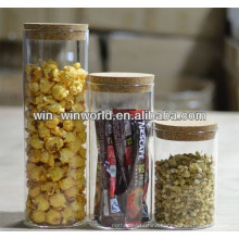 Competitive price Mouthblown Borosilicate glass grain storage bottles & jars with Cork lid