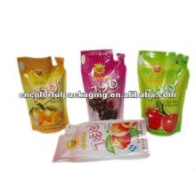 Bolsas de embalaje de zumo de fruta de material laminado con diseño de pie