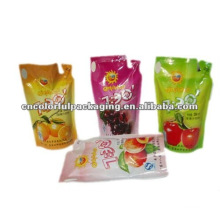 Laminated material fruit juice packaging bags with stand up design