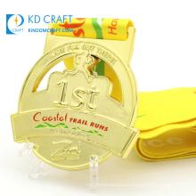 Custom design you own metal gold silver bronze plated logo 3D enamel running race marathon sports medal maker