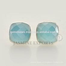 925 brincos de prata esterlina brincos de prata com pedras azuis de calcedônia azul para mulheres