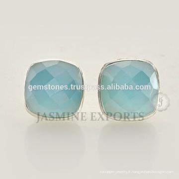 Boucles d'oreilles en argent sterling 925 Boucles d'oreilles en argent sterling bleu turquoise de calcédoine pour femmes