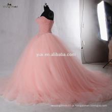 RSW942 Puff Ball Vestido Princesa Vestidos Pink Coral Tulle Skirt Últimas vestidos de noiva Fotos