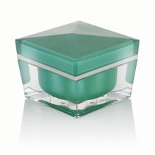 20/30/50 ml tarro de crema de plástico de lujo verde claro tarro de crema de envasado cosmético con tapa de rosca verde claro venta caliente