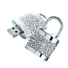 USB Flash Drives in Lock-shaped, Made of Metal and Jewelry Shell, 128MB to 64GB Memory Capacity