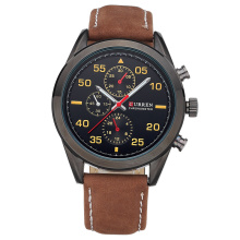 Promoção CURREN Leather Color Band Watch men