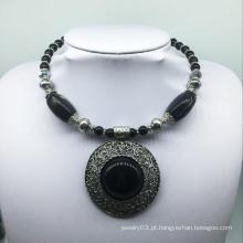 Grande colar de base de liga de pedra preta atraente (xjw13777)