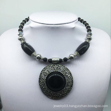 Big Attractive Black Stone Alloy Base Necklace (XJW13777)