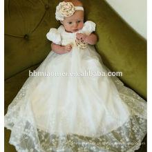 Novo bebê nascido batismo longo laço branco batismo vestido primeiro vestido de aniversário para o bebê menina em ocasião formal